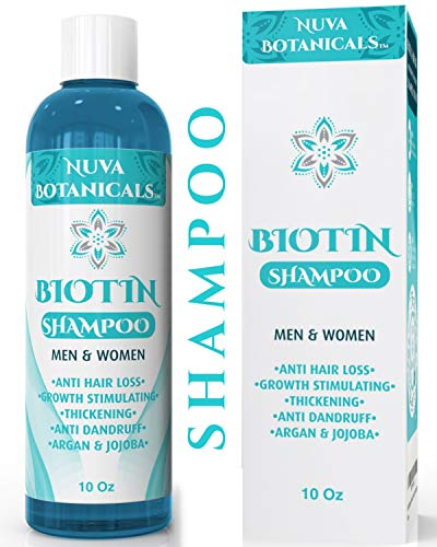 Nuva Botanicals Biotin Shampoo For Hair Growth - Natural Thickening Treatment For Hair Loss and Thinning - Stimulate Thicker Regrowth - Sulfate Free & Paraben Free - For Women and Men