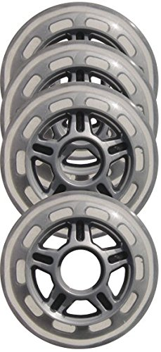 Wheels (4 Pack) with 5-Spoke hub, 80mm, Clear/Silver ()