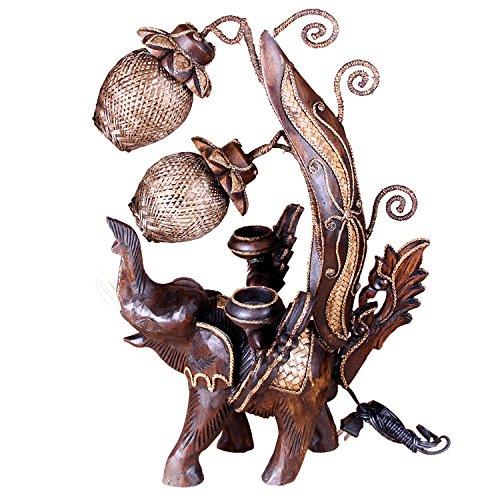 YMXJB Holzschnitzerei Handmade Teak kreative Hand gemacht Tischleuchte Lampe Schlafzimmer Beleuchtung Büro