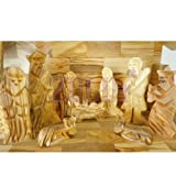 Hand Carved Nativity Set Scene With Bark Roof Made In Bethlehem (OW-NAT-022) by Zuluf