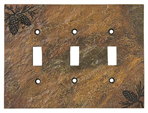 Big Sky Carvers 30170451 Pinecone Triple Switch Plate ()
