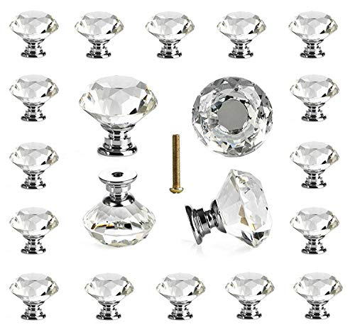 25 pcs Glass Cabinet Knobs Crystal Drawer Pulls Clear 30 mm Diamond for Kitchen, Bathroom Cabinet, Dresser and Cupboard by DeElf