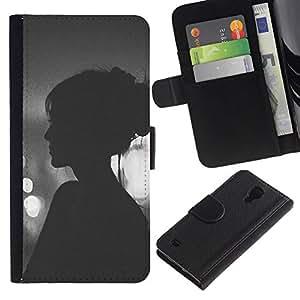 All Phone Most Case / Oferta Especial Cáscara Funda de cuero Monedero Cubierta de proteccion Caso / Wallet Case for Samsung Galaxy S4 IV I9500 // Vignette Hipster Woman Night