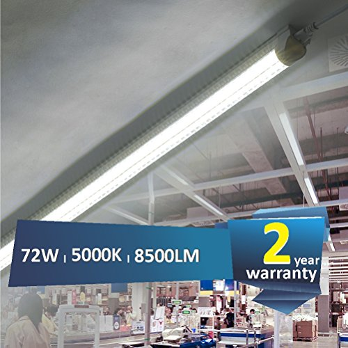 Barrina 8ft Led Shop Light Fixture T8 72w 9000lm 5000k Clear Cover V