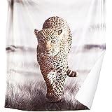 Bedsure Leopard Printed Sherpa Throw Blanket Animal Bedding Blanket 50''x60'' Reversible Throw Fuzzy Microfiber Blanket