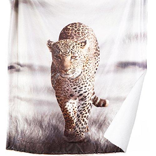 Bedsure Leopard Printed Sherpa Throw Blanket Animal Bedding