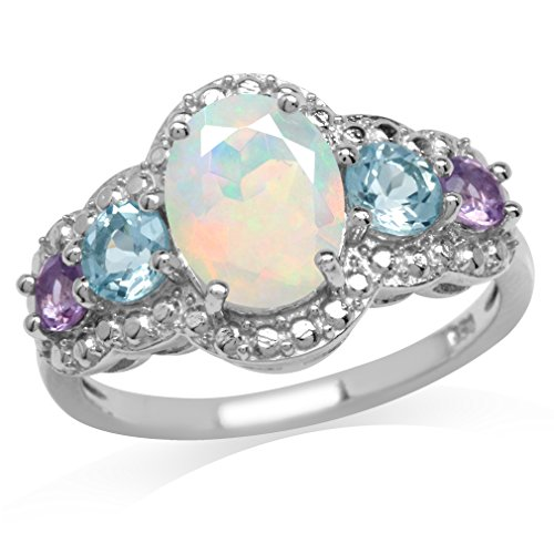 Genuine Opal, Blue Topaz & Amethyst White Gold Plated 925 Sterling Silver Cocktail Ring Size 10 ()