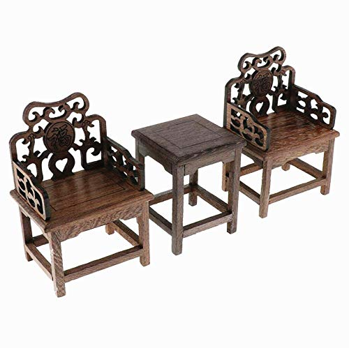 EatingBiting(R) 1:6 Dollhouse Miniature Handcraft Furniture Retro Wood Square Table Armchairs 3 Pieces Dollhouse Furniture Miniatures - 1:6 Scale 3pcs Rosewood Table and Chairs Set,Toys Action Figures