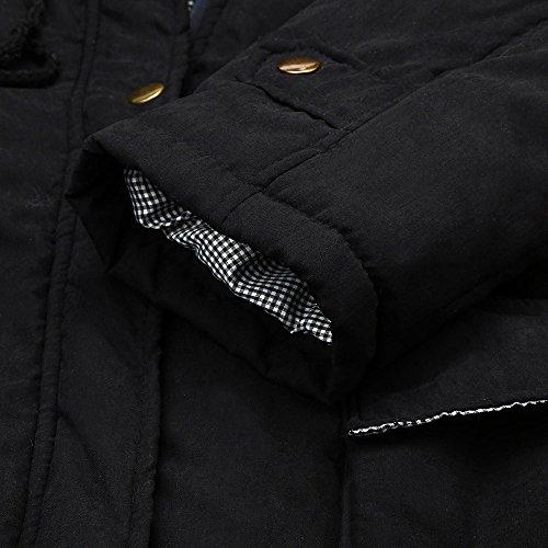 Hiver Femme Parka Outwear Chaud Capuche Militaire Slim Veste Covermason Winter Collier Rembourre Noir Manteau Coats Parka Chaude Fourrure Capuche avec Style wIgq6B5