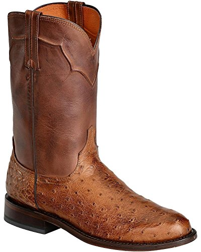 Lucchese Men's Handcrafted Full Quill Ostrich Napoli Roper Cowboy Boot Tan 10.5 EE US