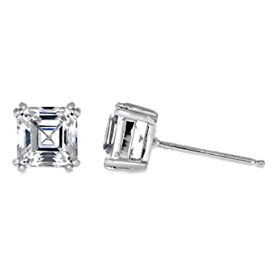 fc84ac6d1 Amazon.com: 4mm 5mm 6mm Solitaire Stud Earring Double Prong Asscher Cut  Cubic Zirconia 925 Sterling Silver Choose Size: Jewelry