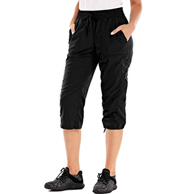 Aiegernle Women's Hiking Shorts, Casual Quick Dry Stretch Knee Capri Cargo Pants: Clothing