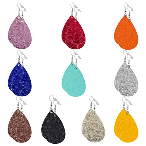 PAMASE 10 Pairs Fashion Teardrop Faux Leather Earrings Petal Dangle Leaf Drop Handmade Lightweight Women Girls Earrings (Teardrop)