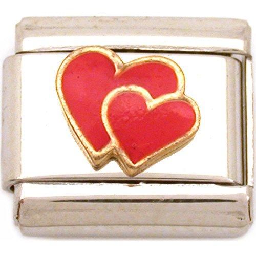 Hearts Italian Charm Enamel Love 9mm (Love Italian Charm)