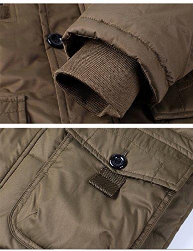 Jacket Giacca Incappucciato Collare Di Menschwear Pile Addensato Piumino Caffè Foderato Pelliccia Down Uomo Puffer wCSSnq56I
