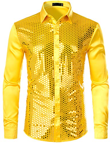 ZEROYAA Men's Shiny Sequin Design 70s Disco Shirt Slim Fit Party Prom Silk Like Satin Dress Shirts ZLCL17-Gold XX-Large]()