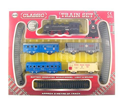 Classic Train Set Battery Operated Scale Model, Lights and Sound Approx 2 Metre of Rrack