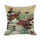 Merry Christmas Throw Pillow Cases Pgojuni Cushion Cover Cotton Linen Pillow Cover 1pc 45cmx45cm (D)