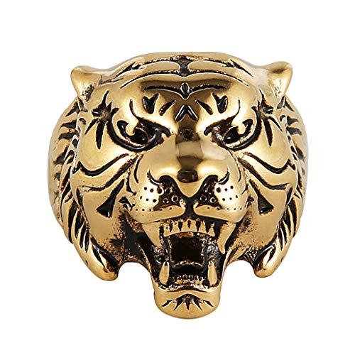 - HZMAN Men's Vintage Gothic Tribal Biker Tiger Head Skull Stainless Steel Ring Band