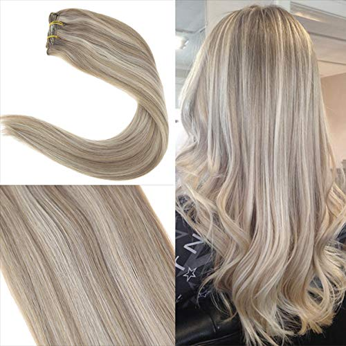 Youngsee 22inch Dip Dyed Clip in Hair Extensions Human Hair 7pcs/120gram Piano Color Dark Ash Blonde Highlight with Golden Blonde Full Head Clip in Remy Human Hair Extensions