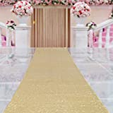 TRLYC 48Inch by 15FT Wedding Sequin Aisle Runner Marriage Ceremony Bridal Carpet Wedding Aisle Runner Outdoor Wedding Aisle Runner-Gold