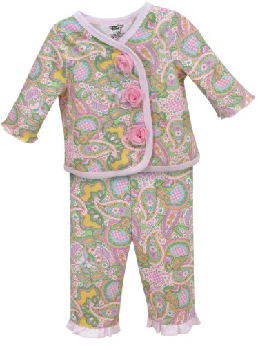 (Stephan Baby Diaper Cover and Jacket Set with Pink Organza Rosettes, Pretty in Paisley)