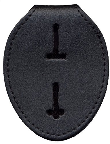Oval Badge (Badge Holder Case, Universal, Black, Leather, NOT Recessed, Metal Clip & Chain Included)