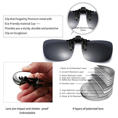 JESSIEDANTON Polarized Clip-on Flip Up Metal Clip Rimless Sunglasses, Lightweight, XL Size, Black Lens by CAXMAN (Image #2)