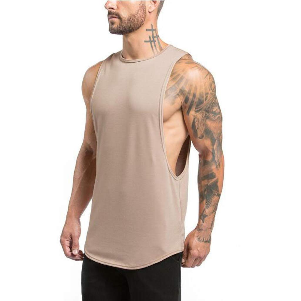 Mens Tank Tops ! Metal Round Buckle T-Shirt Button Blouse Short Sleeve Fit Pollover Top by JSPOYOU (L2, Khaki 01)