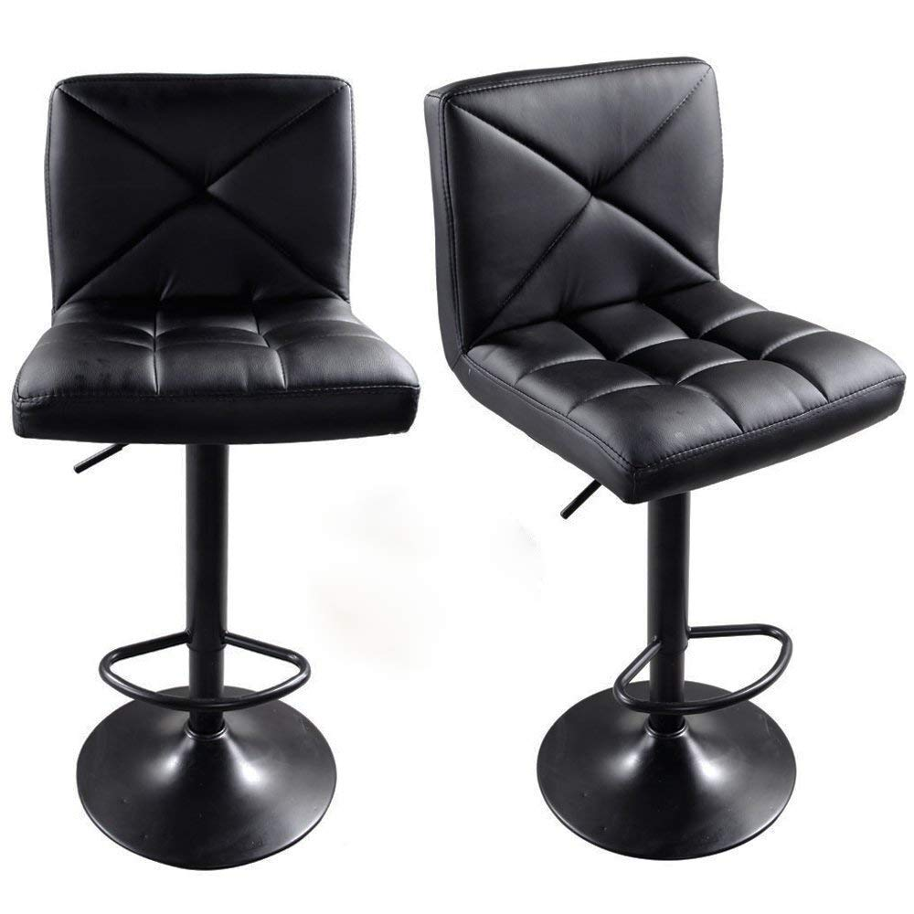 FCH Set of 2 Square PU Leather Barstools Height Adjustable from 24'' - 30'' 360°Swivel Bar Stools with Large Paded Seat/Backrest/ Footrest for Kitchen, Home, Office (Black)
