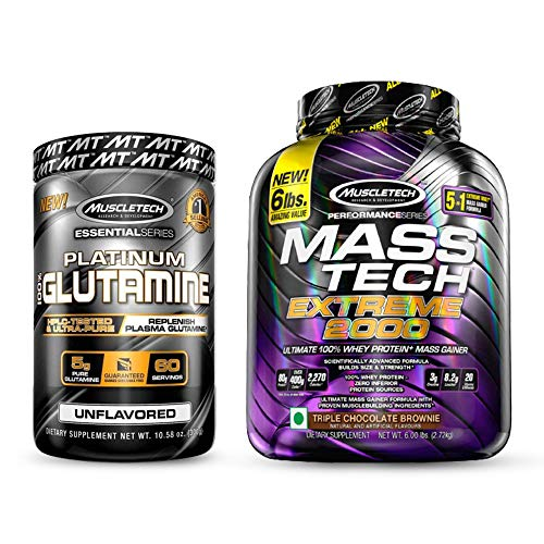Muscletech Essential Series Platinum 100% Glutamine, Unflavored, 5 g, 10.58 oz (300 g) and Muscletech Performance Series Mass Tech Extreme 2000 – 6lbs (2.72kg) (Triple Chocolate Brownie)