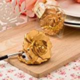 Ornate Matte Gold Rose Design Compact Mirror - Wedding Party Favor (60)