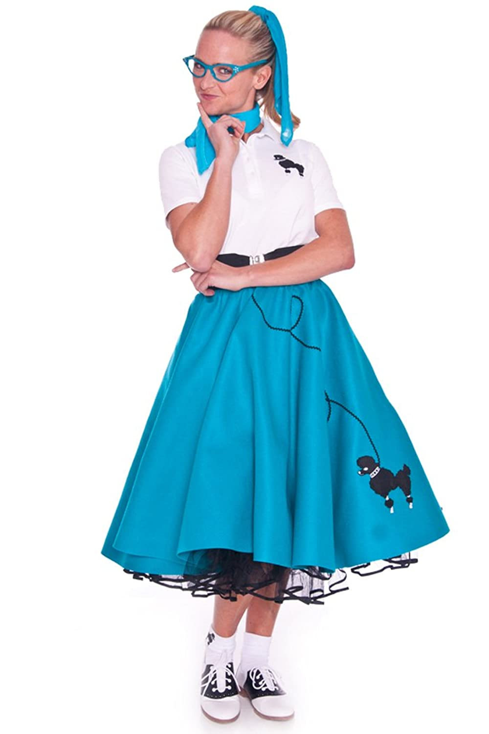 1950s Costumes- Poodle Skirts, Grease, Monroe, Pin Up, I Love Lucy Hip Hop 50s Shop Adult 7 Piece Poodle Skirt Costume Set $119.99 AT vintagedancer.com