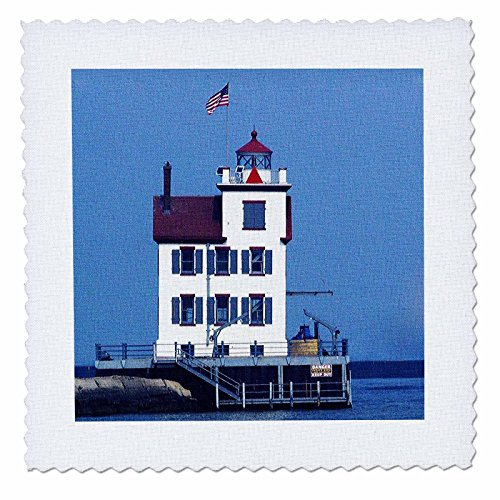 3dRose Sandy Mertens Ohio - Lorain Lighthouse in Lorain Looking Over Lake Erie - 10x10 inch quilt square (qs_61706_1)