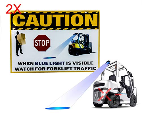 Set of 2 Laminated Vinyl Forklift Traffic Sign Caution Safety Warning Signage Lifting Boom Crane Warehouse Storage Indoor Outdoor Construction Area