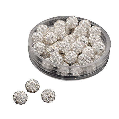 PandaHall About 50 Pcs 6mm Clay Pave Disco Ball Czech Crystal Rhinestone Shamballa Beads Charm Round Spacer Bead for Jewelry Making