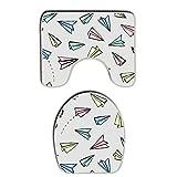 SWEET TANG Memory Foam 2 piece bathroom rug set - School Kids Flying Paper Airplanes - Toilet bath Mat And Lid Cover
