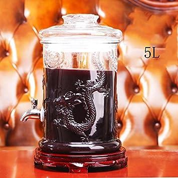 Bebidas de cerveza Dispensador de bebidas de vidrio con grifo, soporte, 4L, 5L, 6L, 7.5L, 10L, 5: Amazon.es: Hogar