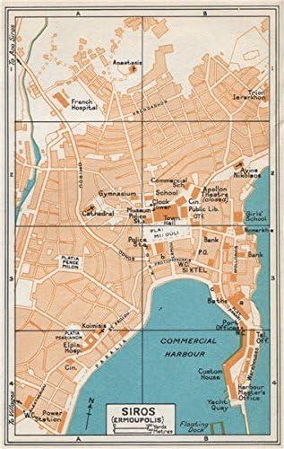 Ermoupoli Syros Vintage Town Karte Plan Agais Griechenland