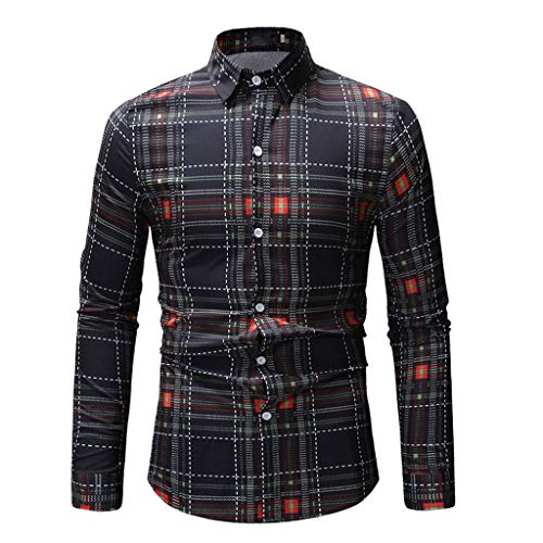 - Cinsanong Long Sleeve Tops for Men, Printed Casual Spring Autumn Shirts Slim Fashion Plus Size Loose Vintage Blouse