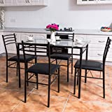 TANGKULA Dining Table Set 5 Piece Home Kitchen Dining Room Tempered Glass  Top Table And Chairs