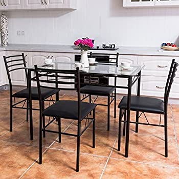 Tangkula 5 PCS Dining Set W/ Glass Top Table and 4 Chairs Set Home Dinette Kitchen Furniture