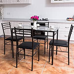 Amazon.com: Tangkula Dining Table Set 5 Piece Home Kitchen Dining ...