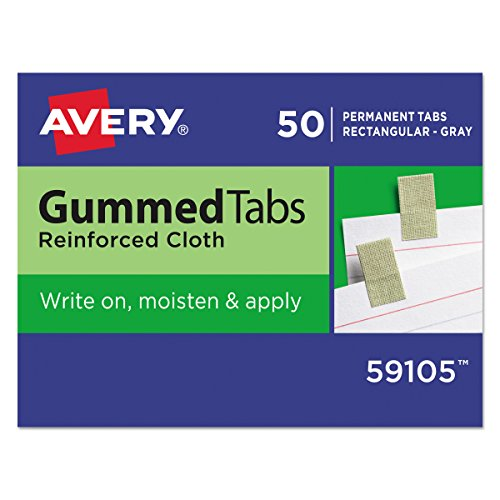 Avery 59105 Gummed Reinforced Index Tabs, 7/16 x 13/16, Gray (Pack of 50)