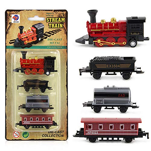 (PH Toy Steam Train Pull-Back Vehicles Classic Alloy Car -Toy Train Sets for Kids Toddler Boys and Girls (1 Alloy Locomotive and 3 Linking Cars))