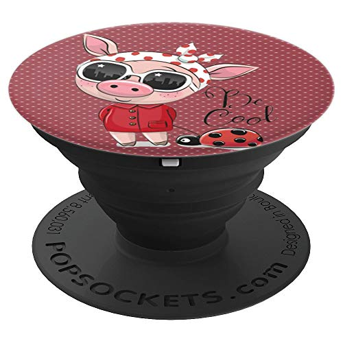 (cool cute pig wearing glasses polka dots dusty pink ladybug - PopSockets Grip and Stand for Phones and Tablets)
