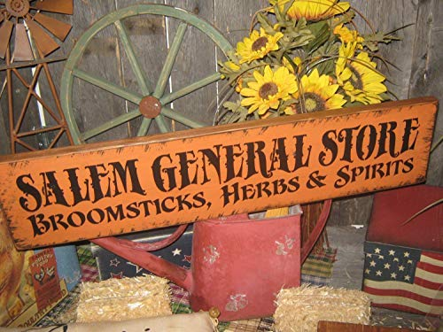 Funlaugh Lg Holiday Wood Hand Print Halloween Salem Witch Salem General Store Broomsticks Herbs Spirits Country Rustic Folkart Wooden Sign Wall Art Living Room Bedroom Decor]()