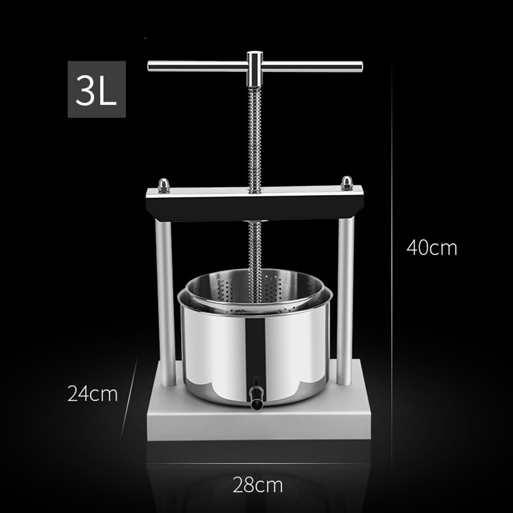 3 Liter Stainless Steel Fruit Wine Press for Squeezing Cheese Butter Soft Fruit Juice or Pressing Herbal Tinctures Manual Press