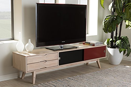 "Baxton Studio Foxhill 71"" TV Stand in Beige and Black - Finish: Beige, Burgundy and Black Material: Solid Rubberwood, MDF, Wood Veneer Mid-century and modern style - tv-stands, living-room-furniture, living-room - 51hAqDp9A9L -"