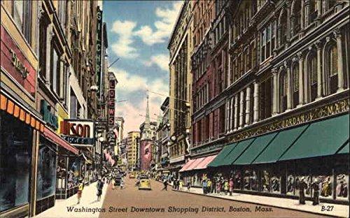 Washington Street Downtown Shopping District Boston, Massachusetts Original Vintage - Shopping Downtown Boston